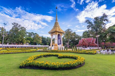 Phrae, Thailand - October 23, 2017 : The Royal Crematorium replica in Phrae Province to be held for the Royal Cremation of His Majesty King Bhumibol Adulyadej on October 26, 2017