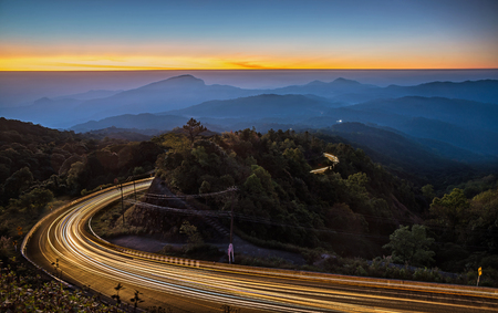 Sunrise in view point of Doi Inthanon National park, at Chiang Mai Province, Northern of Thailand.  Stock Photo