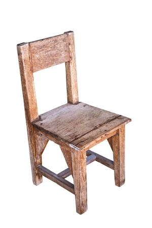 Vintage wooden school chair isolated on white background
