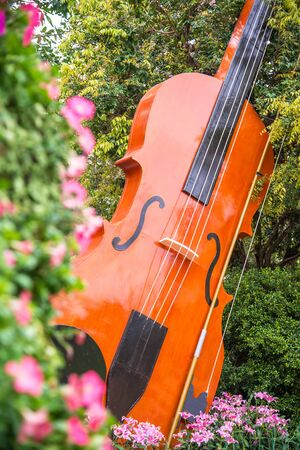 Decorated big violin in the park in Chiang Rai flower festival 2018