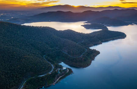 Aerial drone shot over the dam, Mae Kuang Dam at Chaing Mai province in THAILAND. Stock Photo