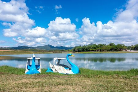 Swan boats Style on the lake in the Park with blue sky background.