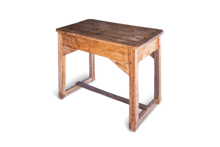 Vintage wooden school table isolated on white background