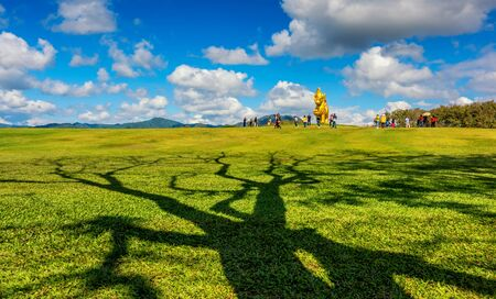 Singha Park the famous agriculture tourist destination in Chiang Rai province. Golden Lion statue logo in Boonrod farm or singha park to visit Chiang Rai. On January 02 2018.
