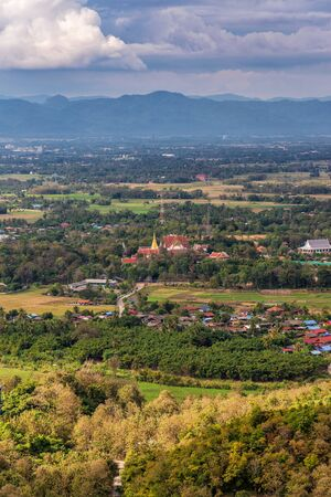City scape view of Phrae province,Thailand. Overlooking Wat Phra That Cho Hae Temple. Stock Photo