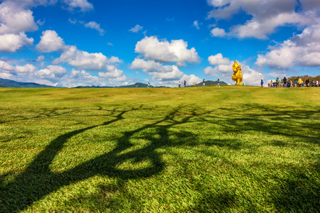 THAILAND, CHIANGRAI - January 2: Singha Park the famous agriculture tourist destination in Chiang Rai province. Golden Lion statue logo in Boonrod farm or singha park to visit Chiang Rai. On January 02 2018. Editorial