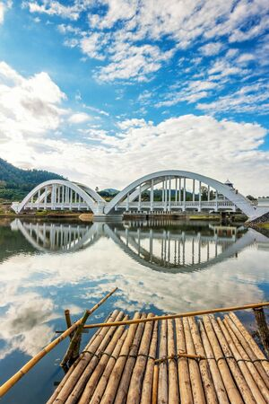Tha Chomphu Railway Bridge or White Bridge , beautiful railway bridge in Mae Tha District, Lamphun, Thailand. Stock Photo