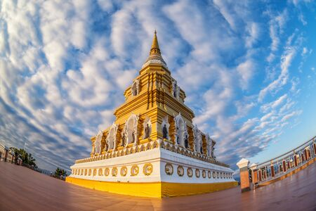 Golden pagoda and blue sky at Wat Phrachao Luang Temple, Chiang Rai, Thailand