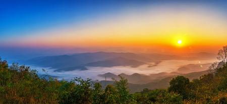 Panorama landscape of sunrise in morning. The Doi Samer Dao in Si Nan National Park, Nan province, Thailand.