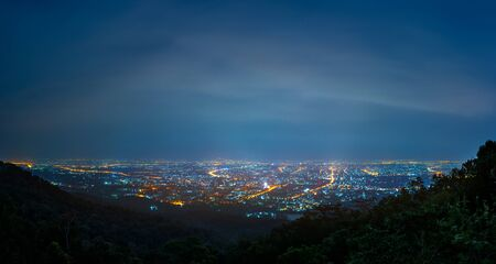 panorama image of Chiang Mai province with long exposure shot ,Thailand. city view from high angle spot night time.