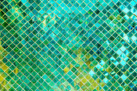 Green mosaic background, Tile Glass seamless pattern mosaic background for modern Interior design style.