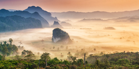 Phu Langka national park, The landscape of misty mountains and  sunrise, Phayao province in Thailand. Stock Photo