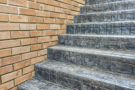 Bricks wall texture with concrete cement stair steps Stock Photo