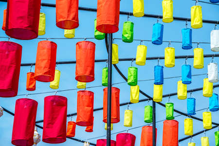 Lanna lanterns at temple , Yi Peng Festival, Chiang Mai, Thailand Stock Photo