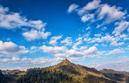 The majestic view of mountain. hilltop and blue sky