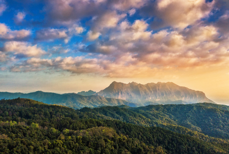 Sunrise in the morning at Doi Luang Chiang Dao, Chiang Mai in Thailand  Stock Photo