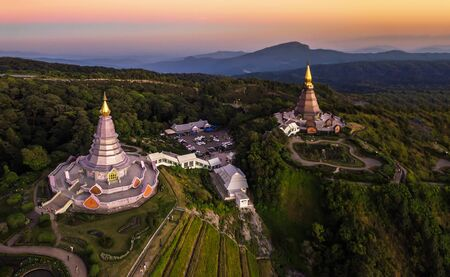 The great holy relics pagoda in Doi Inthanon National Park Chiang Mai, Thailand. Selective Focus.