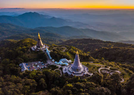 The great holy relics pagoda in Doi Inthanon National Park Chiang Mai, Thailand.