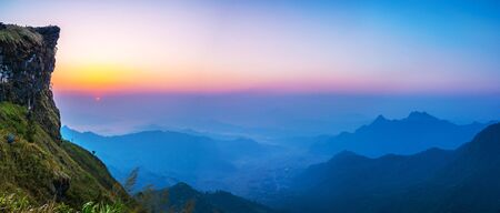 Panorama view Landscape of Phu Chi fa National Park in the morning. Chiang Rai Province, Thailand  Stock Photo