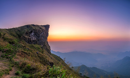 Landscape of Phu Chi fa National Park in the morning. Chiang Rai Province, Thailand
