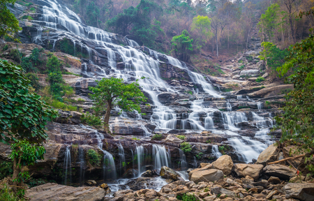 Mae Ya Waterfall in summer at Doi Inthanon national park, Chiang Mai, Thailand.