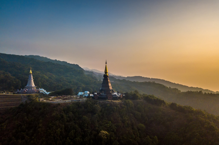 Aerial view of Doi Inthanon National park, at Chiang Mai Thailand.