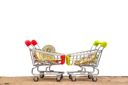 Shopping trolley cart with gold coins Bitcoin, Blockchain , cryptocurrencies investment security and strategy. with clipping path