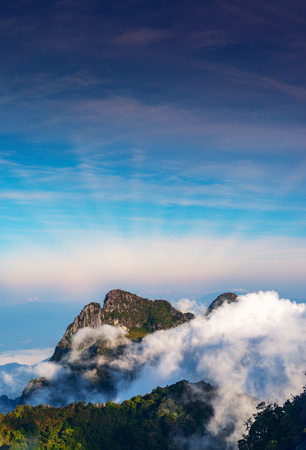 Morning mist with blue sky at view point on Doi Luang Chiang Dao, Chiang Mai ,Thailand.