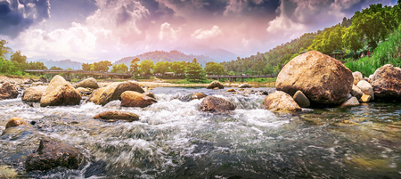 Streaming water in a small river , panorama shot Stock Photo - 100950629