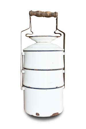 Old white metallic food carrier on white background