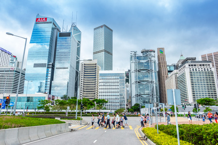HONG KONG, CHINA - MAY 6, 2018 : Modern office buildings in central Hong Kong. with Central Plaza, Hong Kong Convention and Exhibition Centre, Bank of China, HSBC, Two International Finance Centre. Editorial