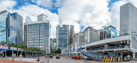 HONG KONG, CHINA - MAY 6, 2018 : Modern office buildings in central Hong Kong. with Central Plaza, Hong Kong Convention and Exhibition Centre, Bank of China, HSBC, Two International Finance Centre