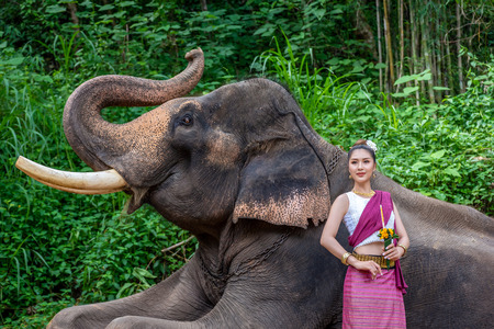 CHIANG MAI, THAILAND - JUNE 3, 2018 : Young lady dancer with elephants, The activities at MAESA ELEPHANT CAMP in Chiang Mai, Thailand. Activities that make everyone love and care for elephants.