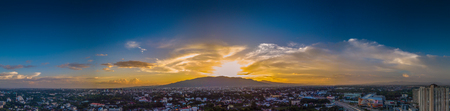 CHIANG MAI, THAILAND- AUGUST 7, 2018 : Aerial Panorama View of Chiang Mai City with sunset and twilight sky. Editorial