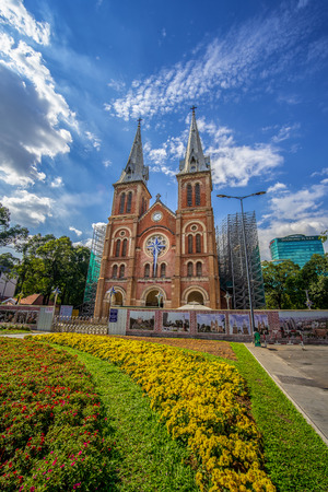 Saigon Notre-Dame Cathedral Basilica in Ho Chi Minh city, Vietnam. Ho Chi Minh is a popular tourist destination of Asia Editorial