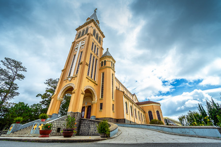 Chicken church, Da Lat Cathedral, Cathedral of the chicken in Da Lat city, Lam Dong province, Vietnam. Banco de Imagens