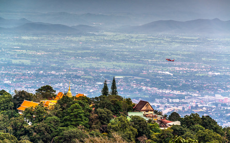 Chiang Mai landmark of Wat Phra That Doi Suthep Temple on the top of Doi Suthep mountain in Chiang Mai, Thailand