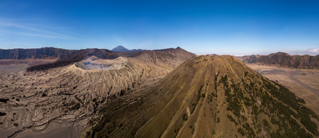 Panorama view of Mountain Bromo active volcano crater in East Jawa, Indonesia. Imagens
