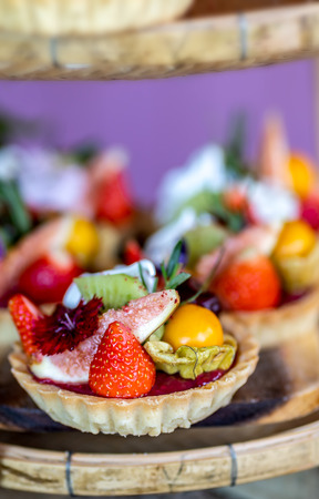Fruit Home Made Raspberry Tart Cakes Stock fotó