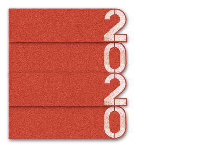 2020 palabra de año nuevo en la pista de atletismo, feliz año nuevo 2020. Foto de archivo