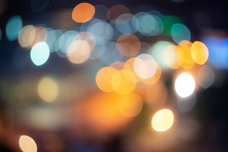 Abstract city night filtered Bokeh blurred color light can use background Stock Photo