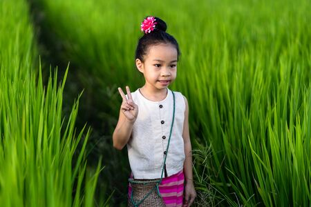 Asian girl in rice field with countryside background Imagens - 131128005