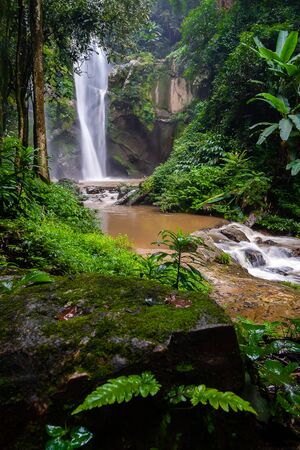 Mork fa Waterfall, the beautiful waterfall in deep forest at Doi Suthep Pui national park, Chiang Mai, Thailand