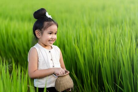 Asian girl in rice field with countryside background Imagens - 131128008