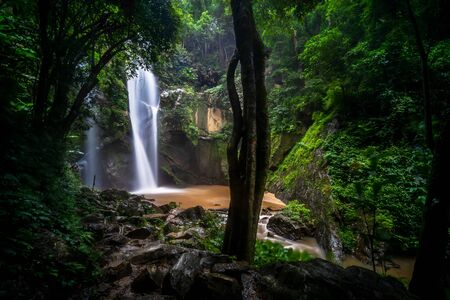 Mork fa Waterfall, Double Waterfal in deep forest at Doi Suthep Pui national park, Chiang Mai, Thailand