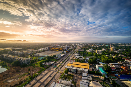 CHIANG MAI , THAILAND- AUGUST 29, 2019 : High angle view of Chiang Mai City in morning in Thailand. Editorial
