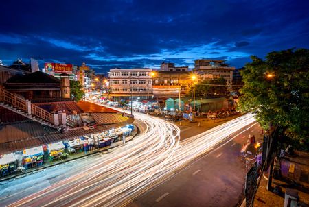 CHIANG MAI , THAILAND- AUGUST 15, 2019 : : Night Scene in Chiang Mai. Colorful shopping street Illuminated at night. Kad Luang is the largest and most important market in Chiang Mai.