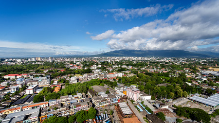 CHIANG MAI , THAILAND- SEPTEMBER 6, 2019 : High angle view of Chiang Mai City in bright sky day in Thailand.