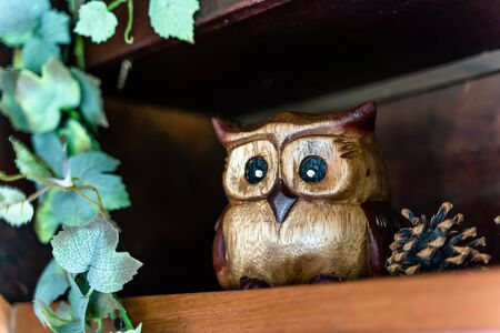 Cute single brown wooden owl doll place on wooden shelve