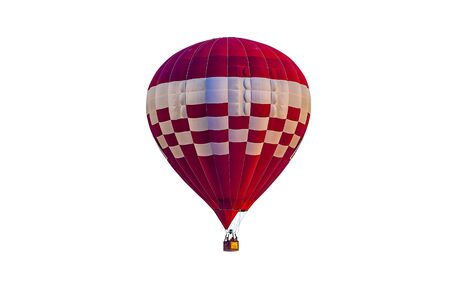 Colorful hot air balloon floating isolated on white background